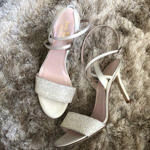 Kate spade Ivory  Satin Glitter Heel Sandals